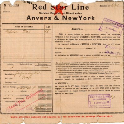 Red Star Line Ticket