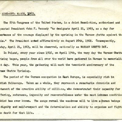 "Typed manuscript of the introduction text for publication in ""Sing Out"" (March 1963)"
