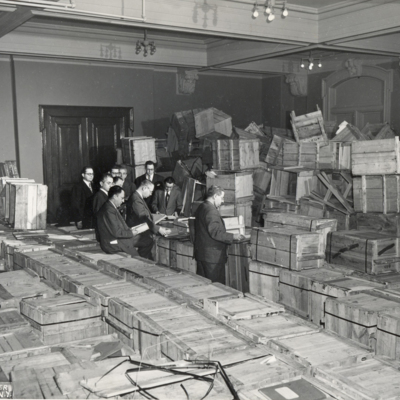 1947.02 - New York - Opening crates of salvaged YIVO treasures from Europe.jpg