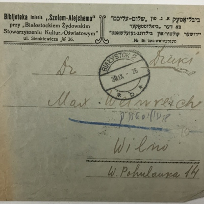Envelope from Sholem Aleichem Library to Max Weinreich