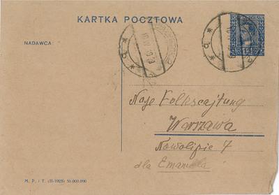 Postcard to Naye folkstsaytung from Shaul Goldman